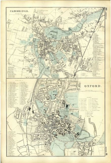 1891 ANTIQUE MAP Street Plan CAMBRIDGE OXFORD Halls COLLEGES Almshouses RAILWAY
